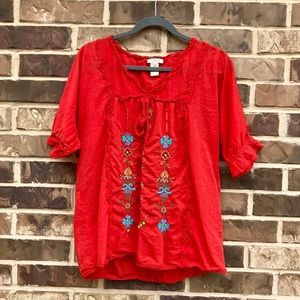 Sundance Embroidered Peasant Top
